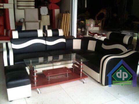 Thanh lý bộ sofa góc da pha nỉ màu sọc đen trắng mới 100% tại Long Biên