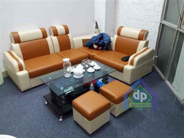 Thanh lý bộ sofa góc màu vàng chanh mới 100% Long Biên