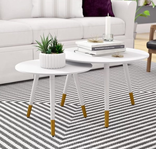Mẫu bàn sofa chân gỗ xinh xắn