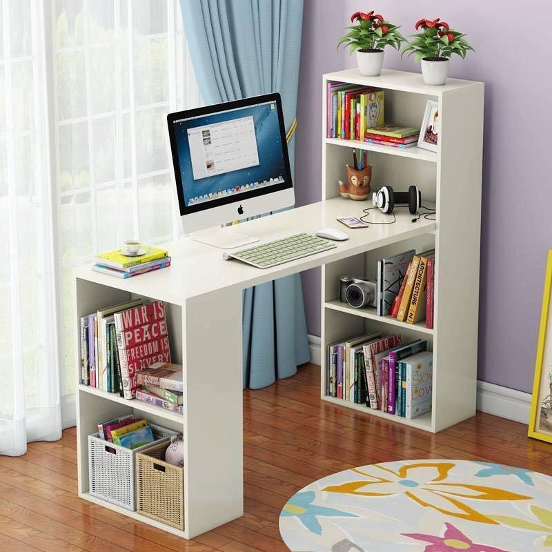 Trên bàn làm việc lớn có thể kê cùng kệ sách trang trí để đặt sách, tài liệu chuyên biệt